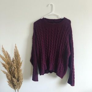American Eagle Maroon Knit Crew Neck Sweater